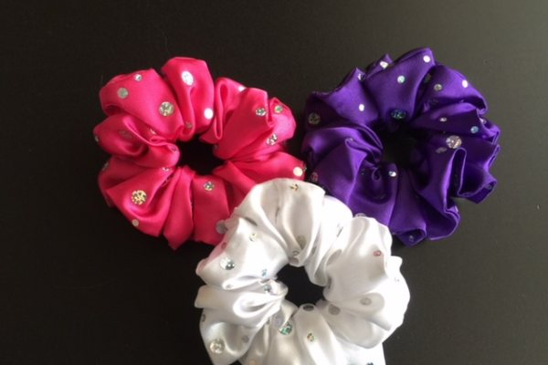 Plain Coloured with Sequins Scrunchies