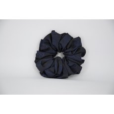 (37) Navy Paisley Single Colour Scrunchie
