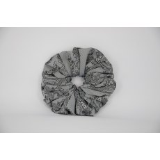 (46) Silver/Grey Paisley Single Colour Scrunchie