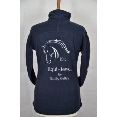 Equi-Jewel 'Team Wear' Slim Fit Ladies Micro Fleece Jacket - Navy with EJ Logo in Silver Grey on Front & Back