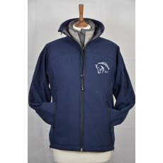 Equi-Jewel 'Team Wear' Ladies Soft Shell Jacket - Navy with EJ Logo in Silver Grey on Front & Back