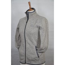 Equi-Jewel 'Classic Collection' Ladies Knitted Outdoor Fleece Jacket - Grey Mix with EJ Logo in Navy on Front