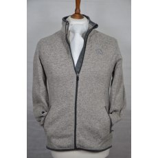 Equi-Jewel 'Classic Collection' Mens Knitted Outdoor Fleece Jacket - Grey Mix with EJ Logo in Navy on Front