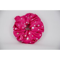 (23) Cerise Scrunchie with Sequins