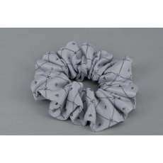 EJS-45 Silver Grey Diamond Scrunchie