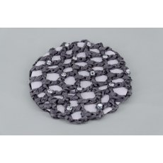 Grey Bun Net with Clear Swarovski Crystals