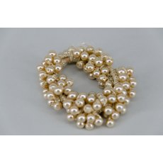 Pearl Effect Beaded Scrunchie - Gold
