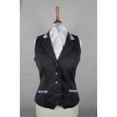 Equi-Jewel Competition Waistcoat - Grey 100% Wool Barathea with Cornflower Blue (41) Trim and White (32) Piping