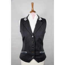 Equi-Jewel Competition Waistcoat - Grey 100% Wool Barathea with Silver Grey Paisley (46) Trim and Baby Pink (22) Piping