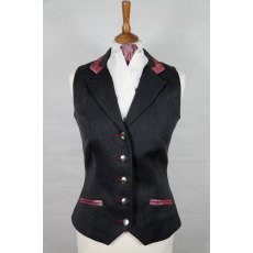 Equi-Jewel Competition Waistcoat - Grey 100% Wool Barathea with Burgundy Paisley (53) Trim and Dusky Pink (20) Piping