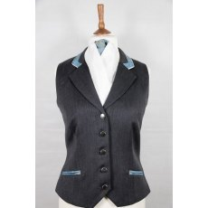 Equi-Jewel Competition Waistcoat - Grey 100% Wool Barathea with Turquoise Paisley (55) Trim and White (32) Piping