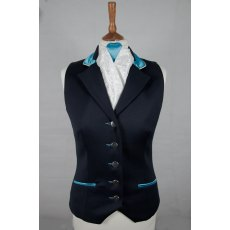 Equi-Jewel Competition Waistcoat - Navy 100% Wool Barathea with Aqua (05) Trim and White (32) Piping