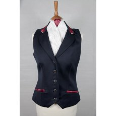 Equi-Jewel Competition Waistcoat - Navy 100% Wool Barathea with Burgundy (18) Trim and White (32) Piping