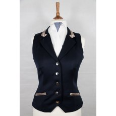 Equi-Jewel Competition Waistcoat - Navy 100% Wool Barathea with Mink (26) Trim and Royal Blue Paisley (56) Piping