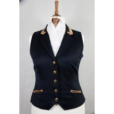 Equi-Jewel Competition Waistcoat - Navy 100% Wool Barathea with Brown Navy Paisley (36) Trim and Navy (01) Piping