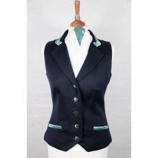 Equi-Jewel Competition Waistcoat - Navy 100% Wool Barathea with Teal (58) Trim and White (32) Piping