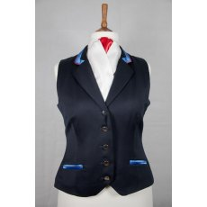 Equi-Jewel Competition Waistcoat - Navy 100% Wool Barathea with Royal Blue (02) Trim and Red (17) Piping