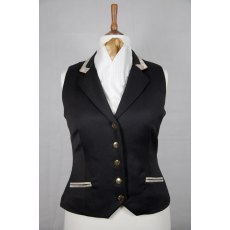 Equi-Jewel Competition Waistcoat - Black 100% Wool Barathea with Gold Paisley (38) Trim and Dark Gold (30) Piping