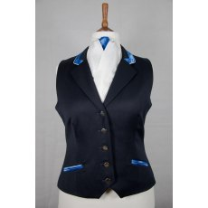 Equi-Jewel Competition Waistcoat - Navy 100% Wool Barathea with Royal Blue (02) Trim and White (32) Piping