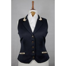 Equi-Jewel Competition Waistcoat - Navy 100% Wool Barathea with Gold (25) Trim and Dark Gold (30) Piping