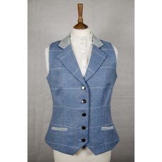 Equi-Jewel Tweed Waistcoat - CGE192 Tweed with Faux Suede Blue (4) Full Collar and Trim