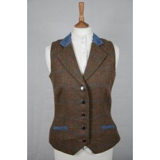 Equi-Jewel Tweed Waistcoat - CHE271 Tweed with Faux Suede Denim (3) Full Collar and Trim