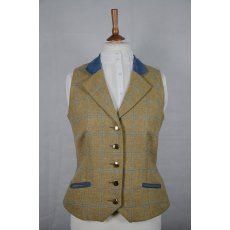 Equi-Jewel Tweed Waistcoat - CGE275 Tweed with Faux Suede Denim (3) Full Collar and Trim