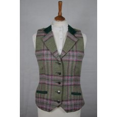 Equi-Jewel Tweed Waistcoat - CGE210 Tweed with Faux Suede Bottle Green (16) Full Collar and Trim