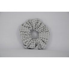 EJS-31 White & Grey Diamond Scrunchie
