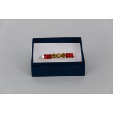 Stock Pin - 6mm Gold & 3mm Red Jewels