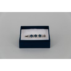 Stock Pin - 6mm Denim Blue Swarovski Crystals & 3mm Clear Jewels