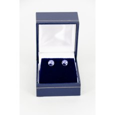 Earrings - Rivoli Swarovski Crystal Round Stud - Tanzanite