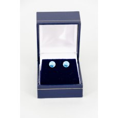 Earrings - Rivoli Swarovski Crystal Round Stud - Aqua