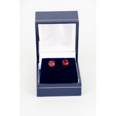 Earrings - Xirius Swarovski Crystal Round Stud - Ruby