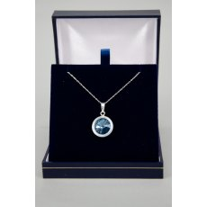 Necklace - Rivoli Swarovski Crystal Single Drop Round - Denim