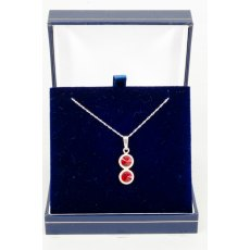 Necklace - Rivoli Swarovski Crystal Double Drop Round - Ruby