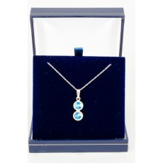 Necklace - Rivoli Swarovski Crystal Double Drop Round - Bermuda Blue