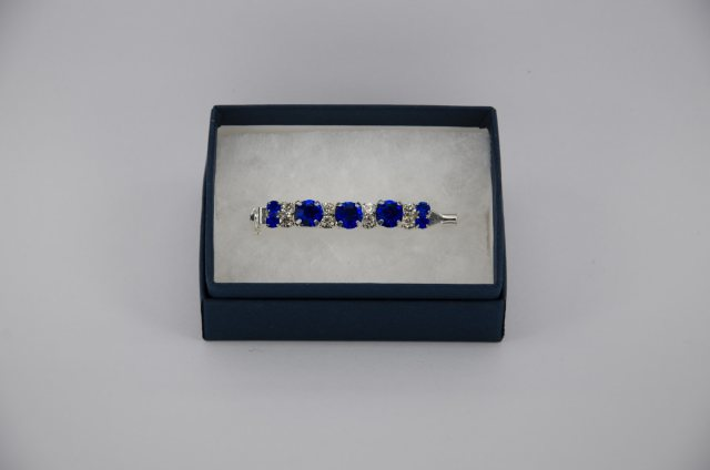 Equi-Jewel 6mm & 3mm Sapphire with 3mm Clear Jewels Stock Pin
