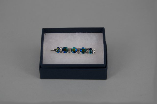 Equi-Jewel Stock Pin - 6mm & 3mm Emerald AB with 3mm Clear Jewels
