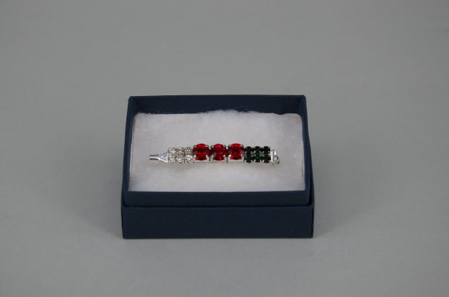 Equi-Jewel by Emily Galtry WELSH Stock Pin - 6mm & 3mm Red, Clear & Dark Green Jewels