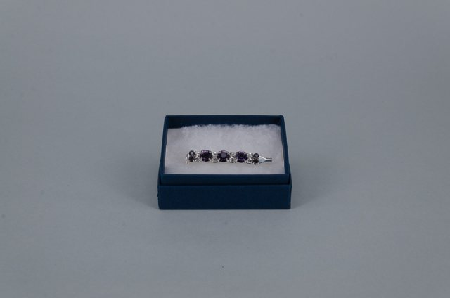 Equi-Jewel Stock Pin - 6mm  & 3mm Purple with 3mm Clear Jewels