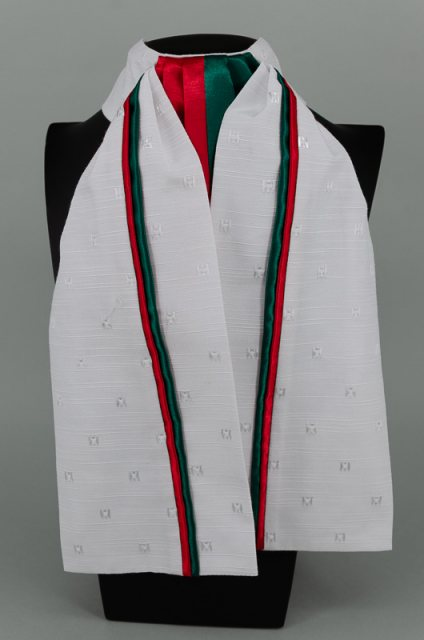Equi-Jewel EJS-01 White Embossed Square with Red (17) & Dark Green (07) Fixed Double Middle & Double Stripe