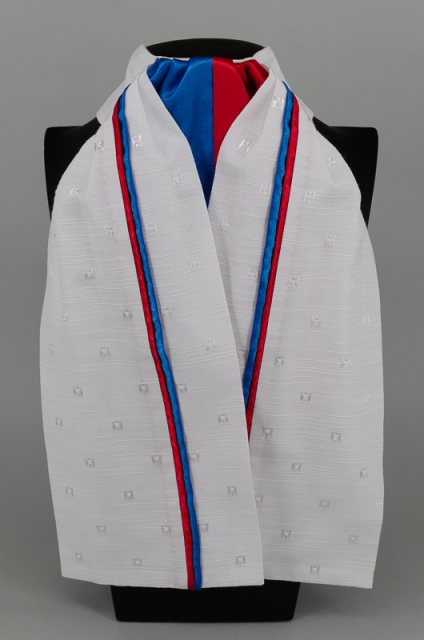 Equi-Jewel EJS-01 White Embossed Square with Royal Blue (02) & Red (17) Fixed Double Middle & Double Stripe