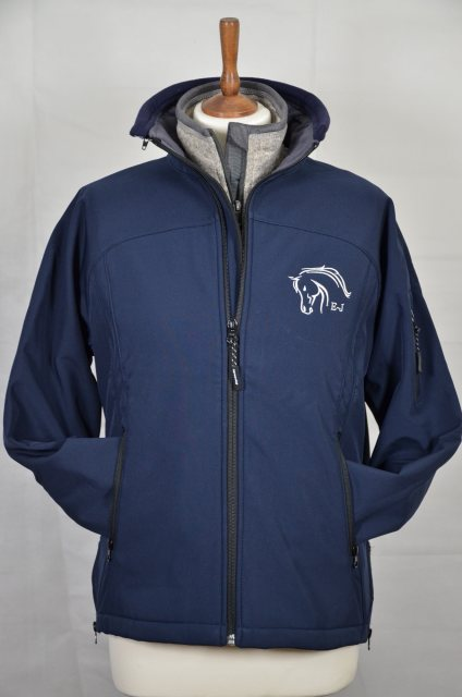 Equi-Jewel by Emily Galtry Equi-Jewel 'Team Wear' Ladies Soft Shell Jacket - Navy with EJ Logo in Silver Grey on Front & Back