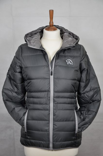 Equi-Jewel Equi-Jewel 'Classic Collection' Ladies Hooded Padded Jacket - Space Grey with EJ Logo in Silver Grey on Front