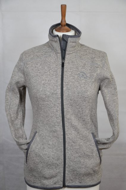 Equi-Jewel Equi-Jewel 'Classic Collection' Ladies Knitted Outdoor Fleece Jacket - Grey Mix with EJ Logo in Navy on Front
