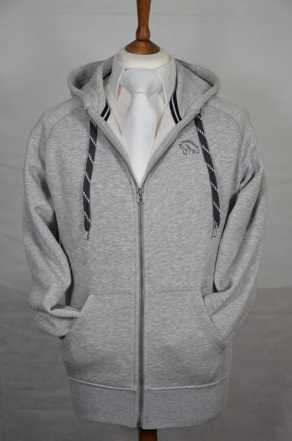 Equi-Jewel Equi-Jewel 'Classic Collection' Mens Zip Hooded Sweatshirt - Heather Grey with EJ Logo in Charcoal on Front
