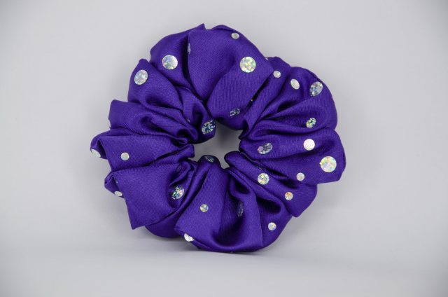 Equi-Jewel (14) Bright Purple Scrunchie with Sequins