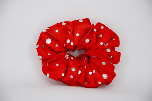 Equi-Jewel (17) Red Scrunchie with Sequins