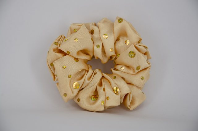 Equi-Jewel (25) Gold Scrunchie with Sequins